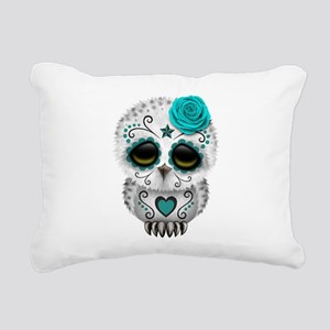 Cute Teal Blue Day of the Dead Sugar Skull Owl Rec